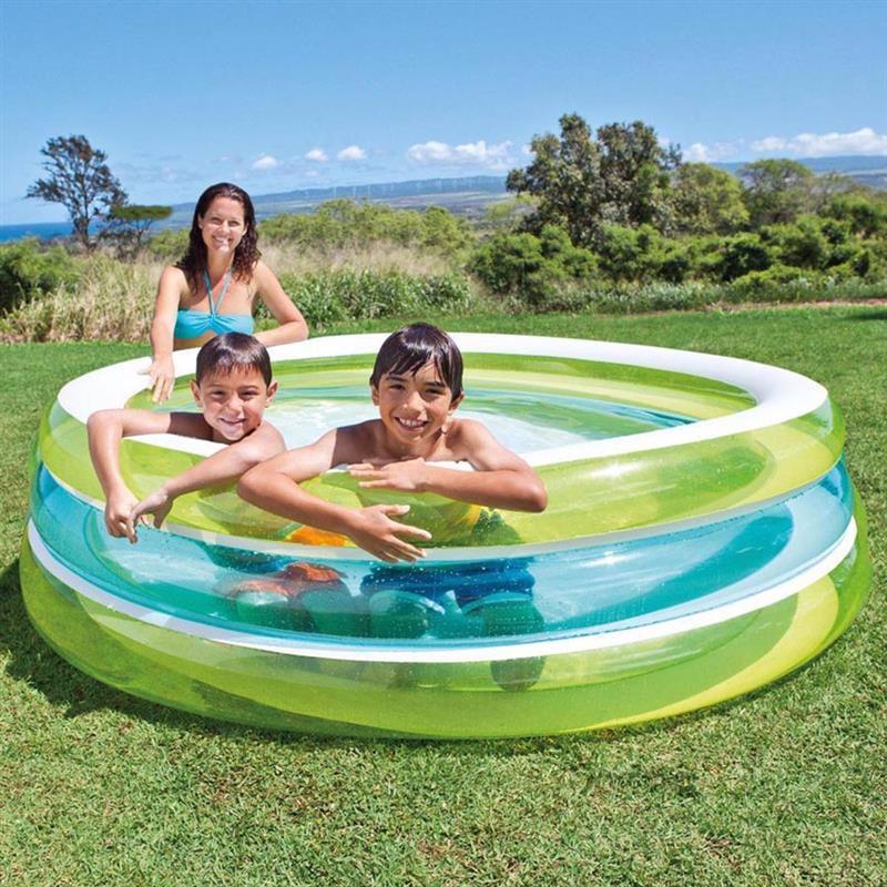 """Семейный надувной бассейн Intex 57489 """"Линза""""  Swim Center See-Through Pool (203х51 см)"""