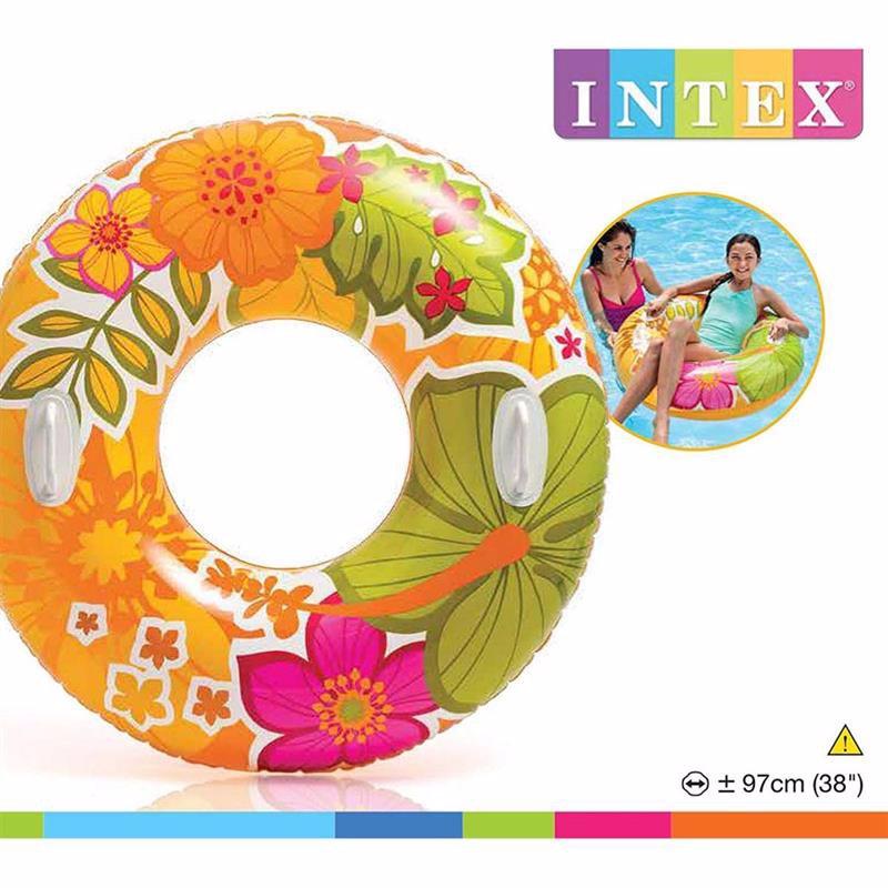Надувной круг Intex 58263 с ручками (Оранжевый) Transparent Tubes (97 см)