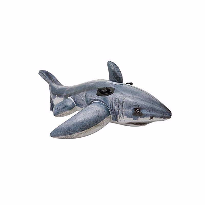 "Детский надувной плотик Intex 57525 ""Акула"" (173х107 см) Great White Shark Ride-On"