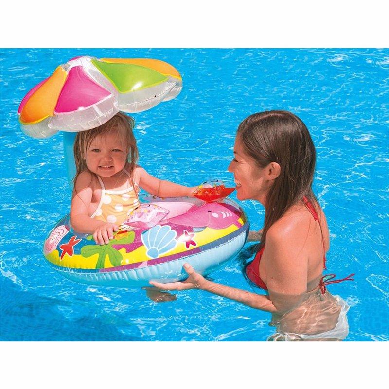 Детский надувной круг-плотик Intex 56583 Fish and Friends Baby Float (112х64 см)