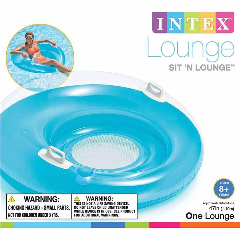 Пляжное надувное кресло Intex 58883 Голубой Sit 'n Lounge (119 см)