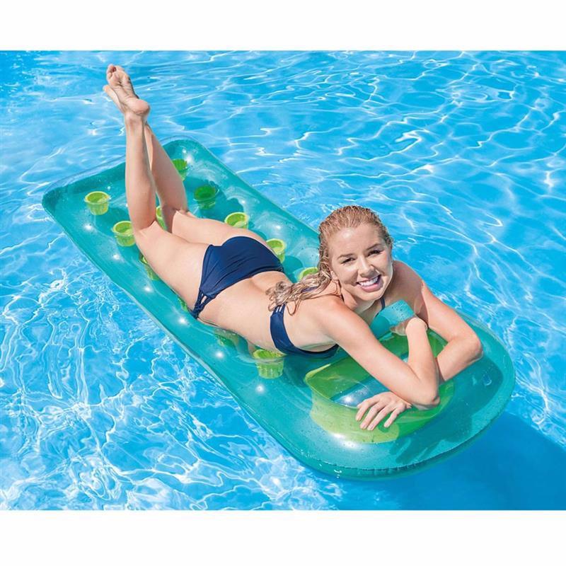 Пляжный надувной матрас для плавания Intex 59895 (Голубой) 18-Pocket Suntanner Lounges (188х71 см)