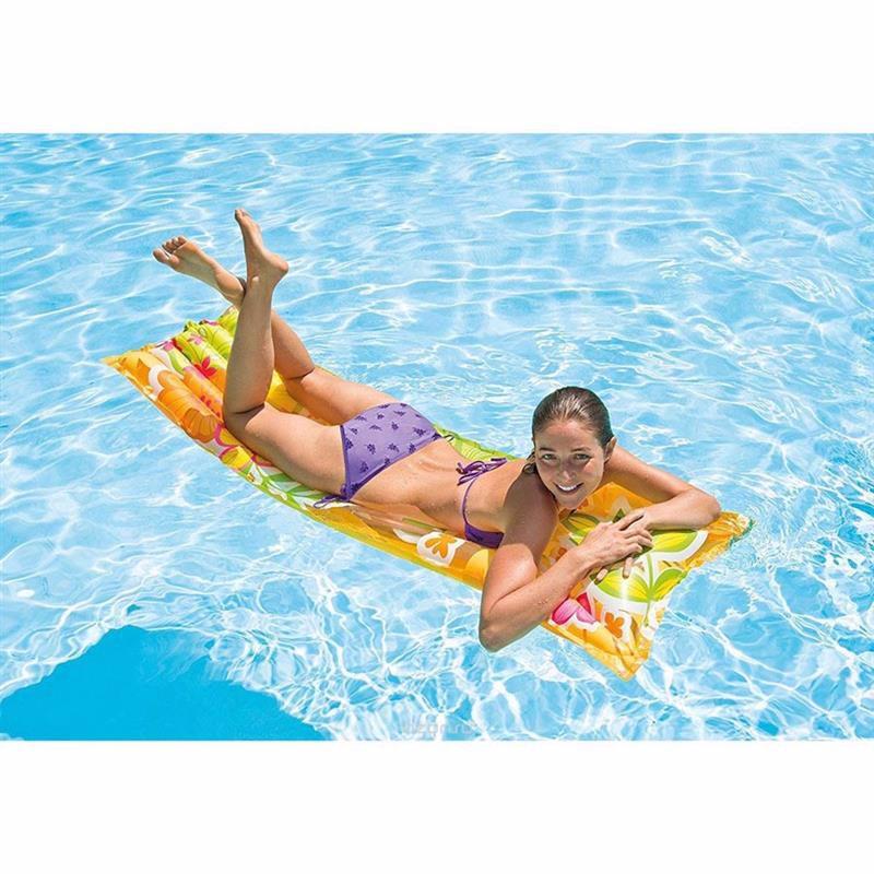 Пляжный надувной матрас для плавания Intex 59720 (Оранжевый) Fashion Mats (183х69 см)