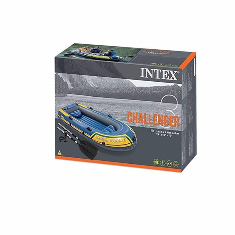 Трехместная надувная лодка Intex 68370 (295 х 137 х 43 см) Challenger 3 Set + Алюминиевые весла и ручной насос