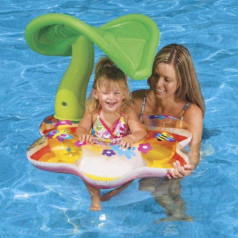 Детский надувной круг-плотик Intex 56577 Tropical Baby Float (142х74 см)