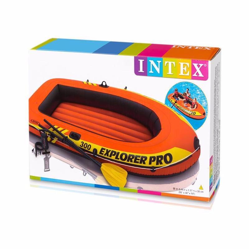 Трехместная надувная лодка Intex 58358 (244 x 117 x 36 см) Explorer Pro 300 Set + Пластиковые весла и ручной насос