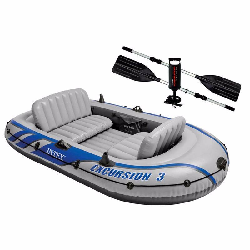 Трехместная надувная лодка Intex 68319 (262 x 157 x 42 см) Excursion 3 Set + Алюминиевые весла и ручной насос