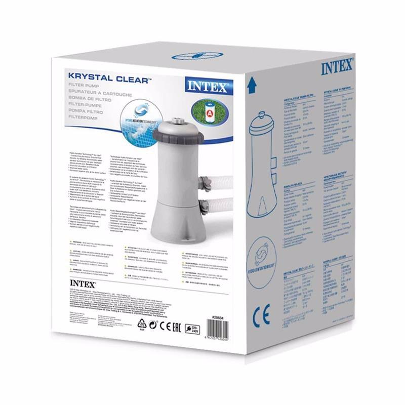 Картриджный фильтрующий насос Intex 28604 (2006 л/час) Crystal Clear Cartridge Filter Pump (для бассейнов, диаметром 366 см)