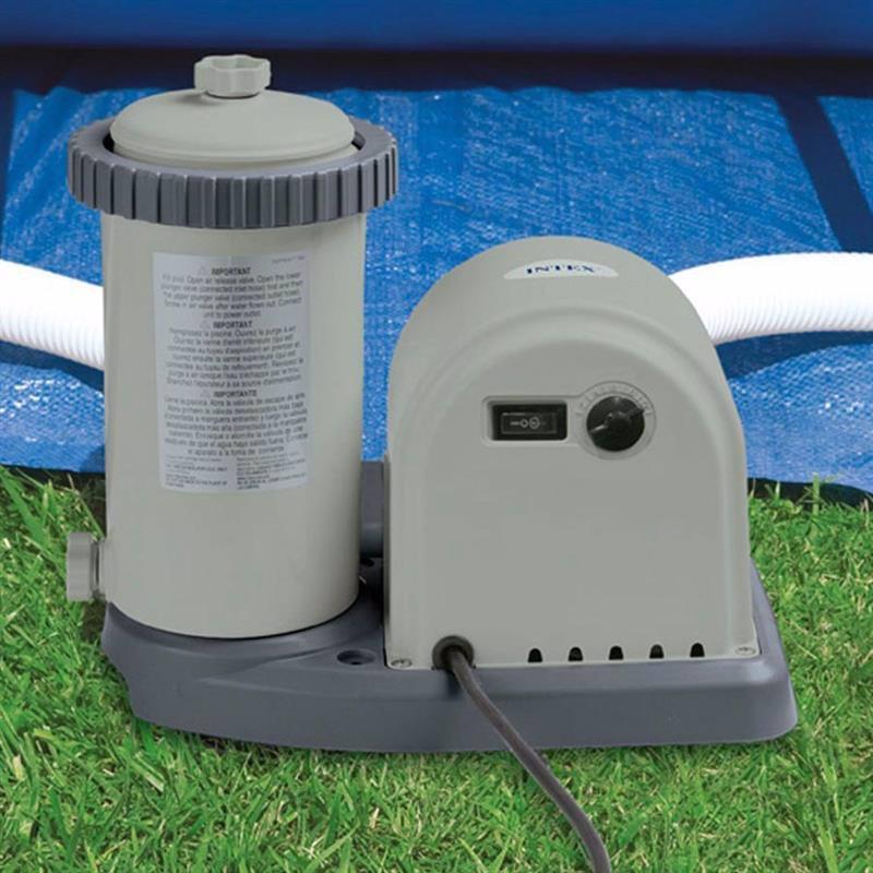 Картриджный фильтрующий насос Intex 28636 (5678 л/час) Crystal Clear Cartridge Filter Pump (для бассейнов, диаметром 488, 549 см. и размером 610х366 см)