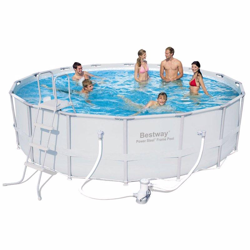 Круглый каркасный бассейн Bestway 56266 (488x122 см) Power Steel Frame Pool