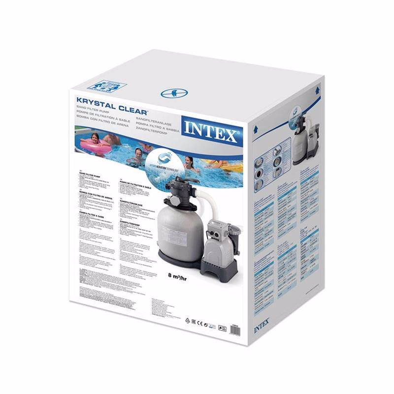 Песочный фильтрующий насос Intex 28644 (4500 л/час, 12 кг) Crystal Clear Sand Filter Pump (для бассейнов, диаметром 478, 488 см или размером 549x274 см)
