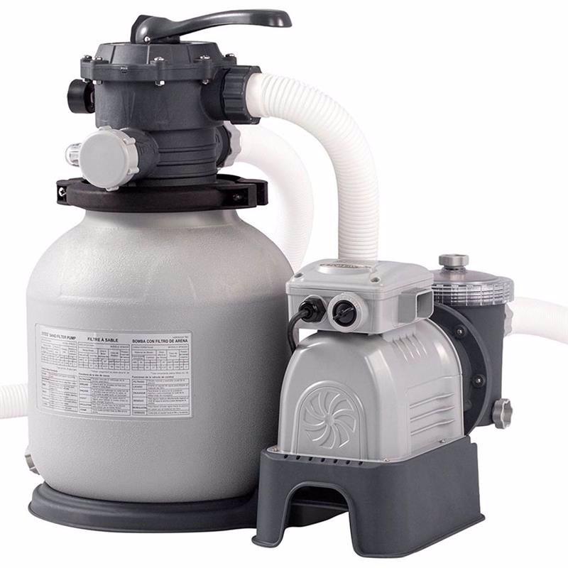 Песочный фильтрующий насос Intex 28646 (7900 л/час, 23 кг) Crystal Clear Sand Filter Pump (для бассейнов, диаметром 549 см или размером 732x366 см)