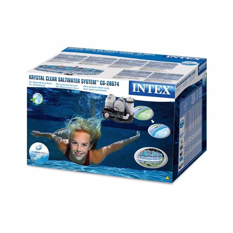 Хлоргенератор с картриджным фильтрующим насосом Intex 28674 (28672) (5 г/час, 4542 л/час) Crystal Clear Cartridge Filter Pump & Saltwater System With E.C.O. (Electrocatalytic Oxidation) (для бассейнов, диаметром 488 см)