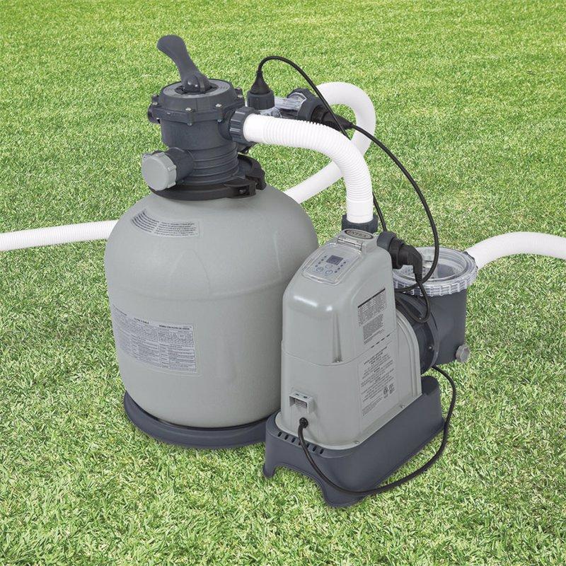 Хлоргенератор с песочным фильтрующим насосом Intex 28682 (28680) (11 г/час, 10000 л/час, 45 кг) Crystal Clear Sand Filter Pump & Saltwater System With E.C.O. (Electrocatalytic Oxidation) (для бассейнов, размером 975x488 см)