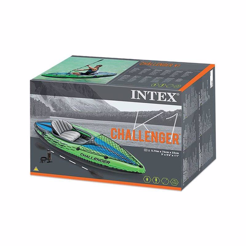 Одноместная надувная байдарка Intex 68305 (274 x 76 x 33 см) Challenger K1 + Алюминиевые весла и ручной насос