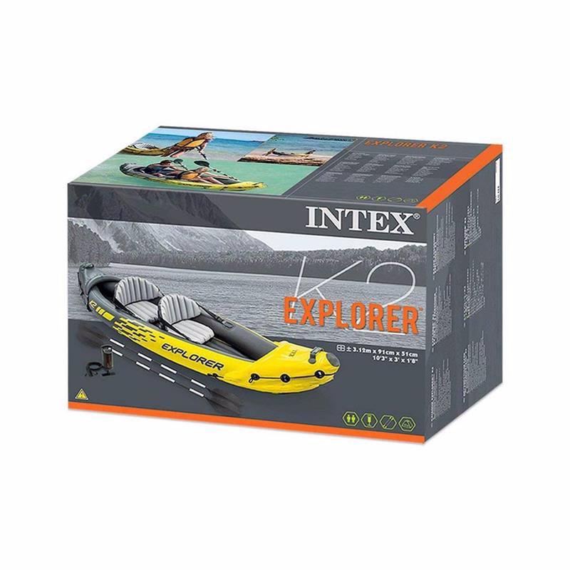 Двухместная надувная байдарка Intex 68307 (312 x 91 x 51 см) Explorer K2 + Алюминиевые весла и ручной насос