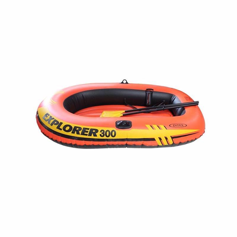 Трехместная надувная лодка Intex 58332 (211x117x41 см) Explorer 300 Set + Пластиковые весла и ручной насос