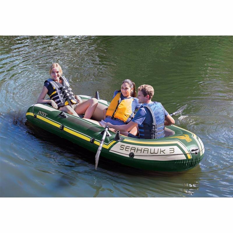 Трехместная надувная лодка Intex 68380 (295х137х43 см) Seahawk 3 Set + Алюминиевые весла и ручной насос