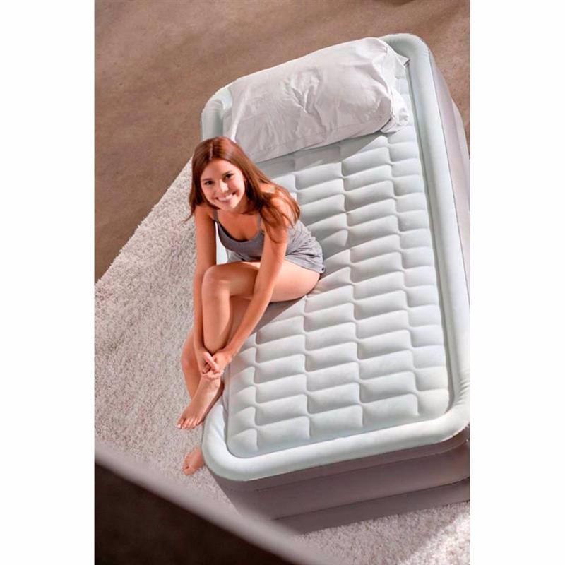 Односпальная надувная кровать Intex 64482 (99 x 191 x 46 см) PremAire + Встроенный электронасос 220В с USB портом и регулятором жесткости