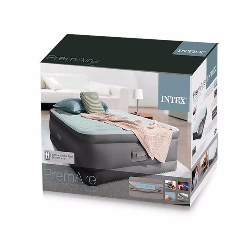 Полутороспальная надувная кровать Intex 64484 (137 x 191 x 46 см) PremAire + Встроенный электронасос 220В с USB портом и регулятором жесткости