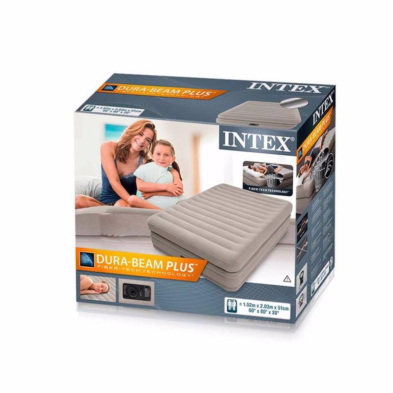 Двуспальная надувная кровать Intex 64446 (152 x 203 x 51 см) Prime Comfort Elevated + Встроенный электронасос 220В