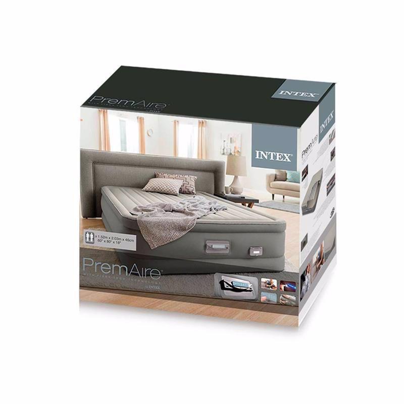 Двуспальная надувная кровать Intex 64770 (152 x 203 x 46 см) PremAire + Встроенный электронасос 220В с USB портом и регулятором жесткости