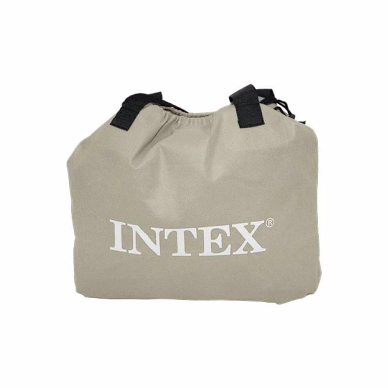 Двуспальная надувная кровать Intex 64124 (152 x 203 x 42 см) Pillow Rest + Встроенный электронасос 220В