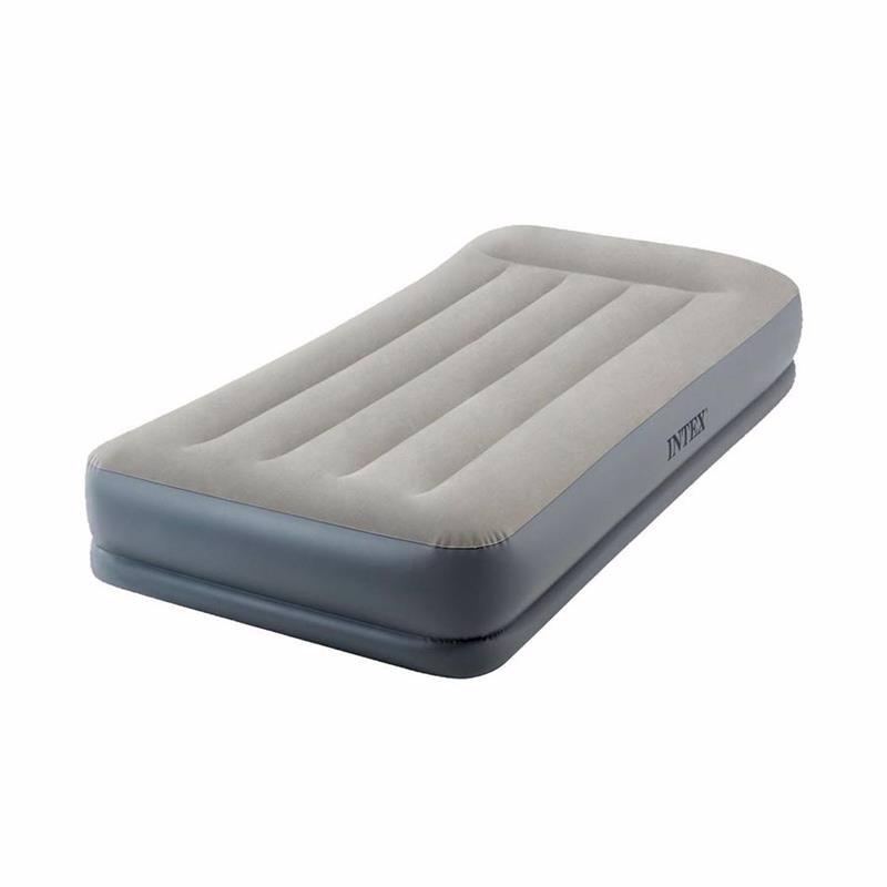 Односпальная надувная кровать Intex 64116 (99-191-30 см) Pillow Rest Mid-Rise + Встроенный электронасос 220В