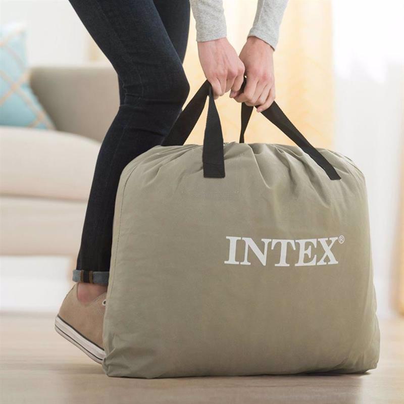 Двуспальная надувная кровать Intex 64118 (152-203-30 см) Pillow Rest Mid-Rise + Встроенный электронасос 220В