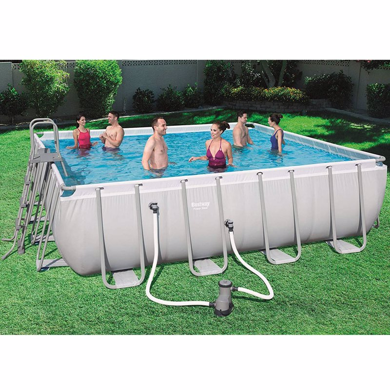 Квадратный каркасный бассейн Bestway 56626 (488х488х122 см) Power Steel Frame Pool