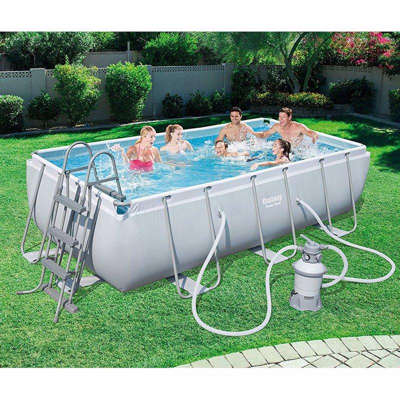 Прямоугольный каркасный бассейн Bestway 56442 Power Steel Frame Pool (404х201х100 см)