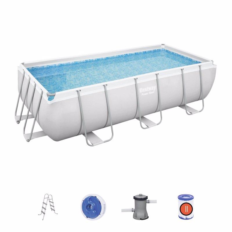 Прямоугольный каркасный бассейн Bestway 56441 Power Steel Frame Pool (404х201х100 см)