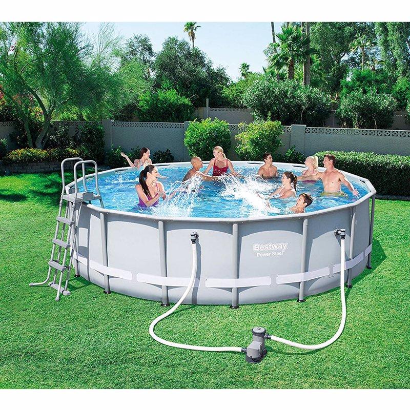 Круглый каркасный бассейн Bestway 56451 (488х122 см) Power Steel Frame Pool