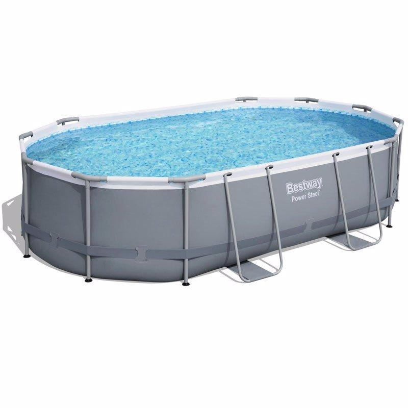 Овальный каркасный бассейн Bestway 56448 Power Steel Frame Pool (488х305х107 см)