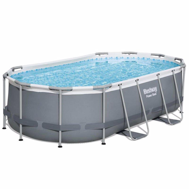 Овальный каркасный бассейн Bestway 56620 Power Steel Frame Pool (427х250х100 см)