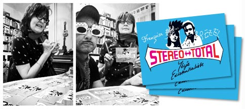 Stereo Total Yeye Existentialiste Signing Postcards in Berlin