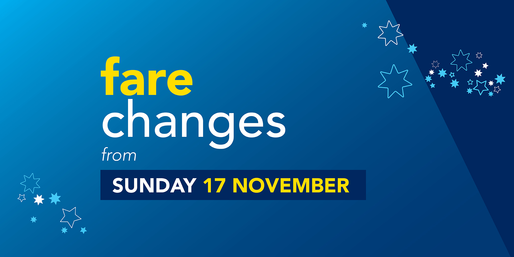 Fare changes from Sunday 17th November
