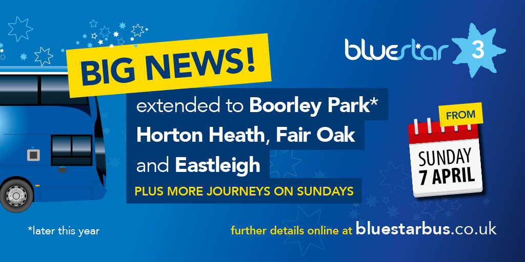 Bluestar 3 extended to Eastleigh from 7th April
