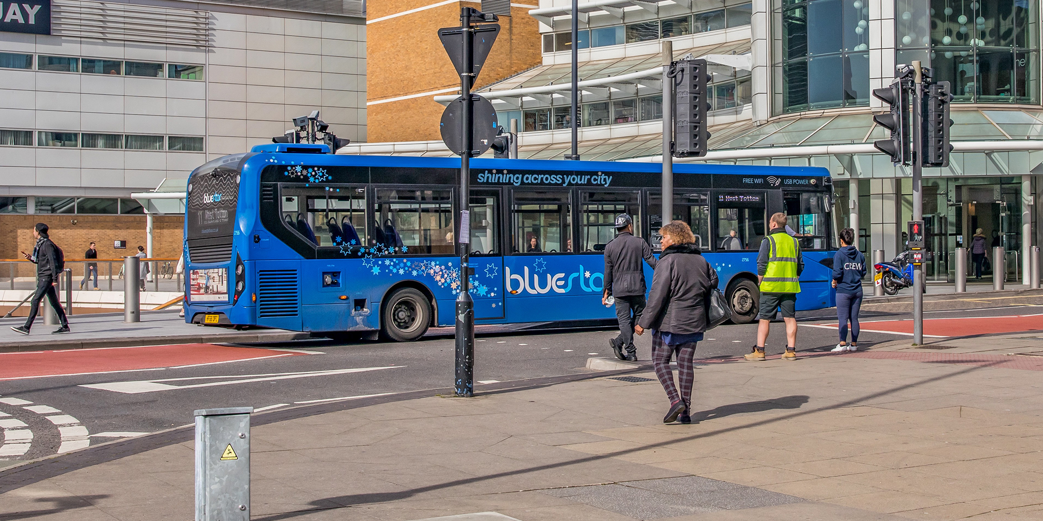 Photo of a Bluestar bus outside Westquay shopping centre