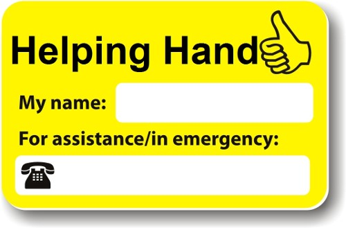Helping Hand card contains space for your name and a contact number