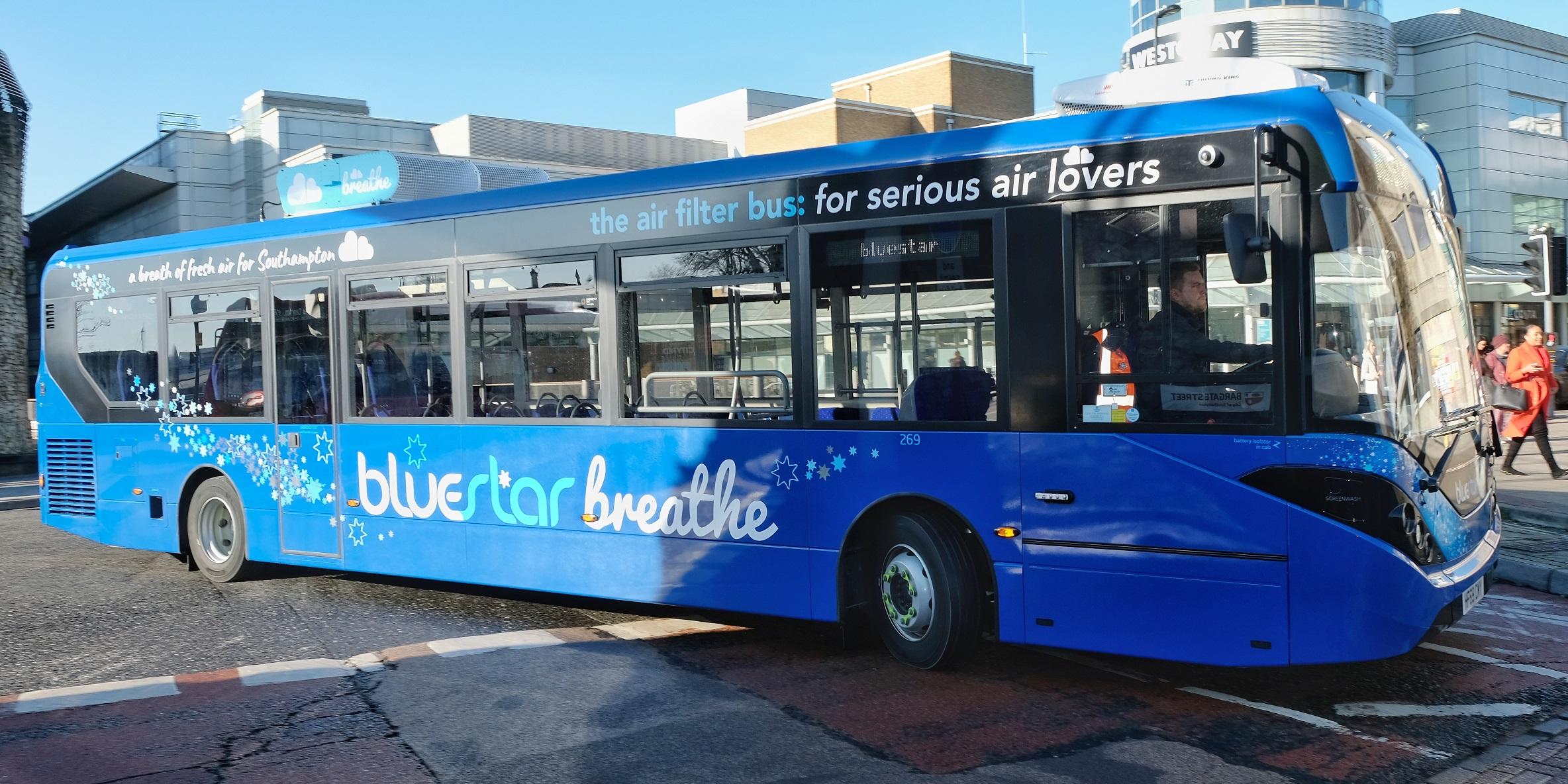 Bluestar Breathe Bus at Old Walls, Southampton