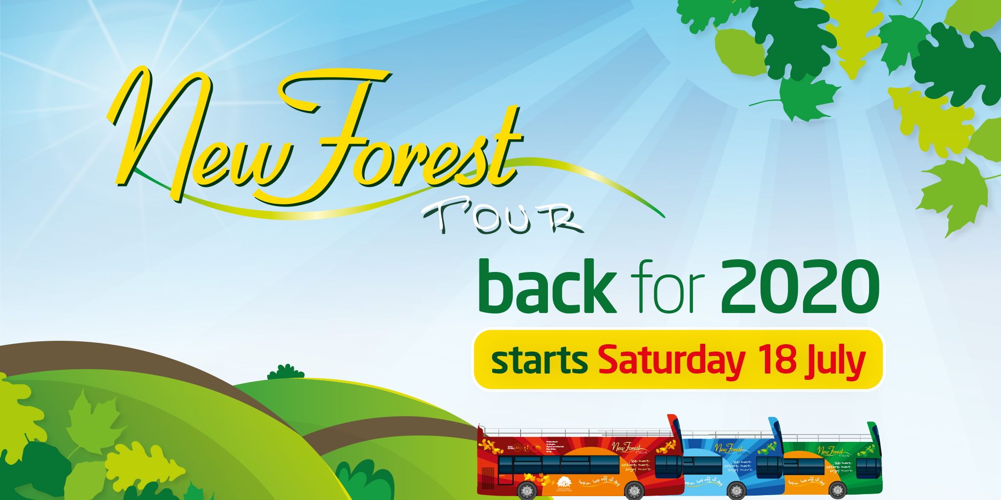 Image reading 'New Forest Tour back for 2020 starts Saturday 18th July'
