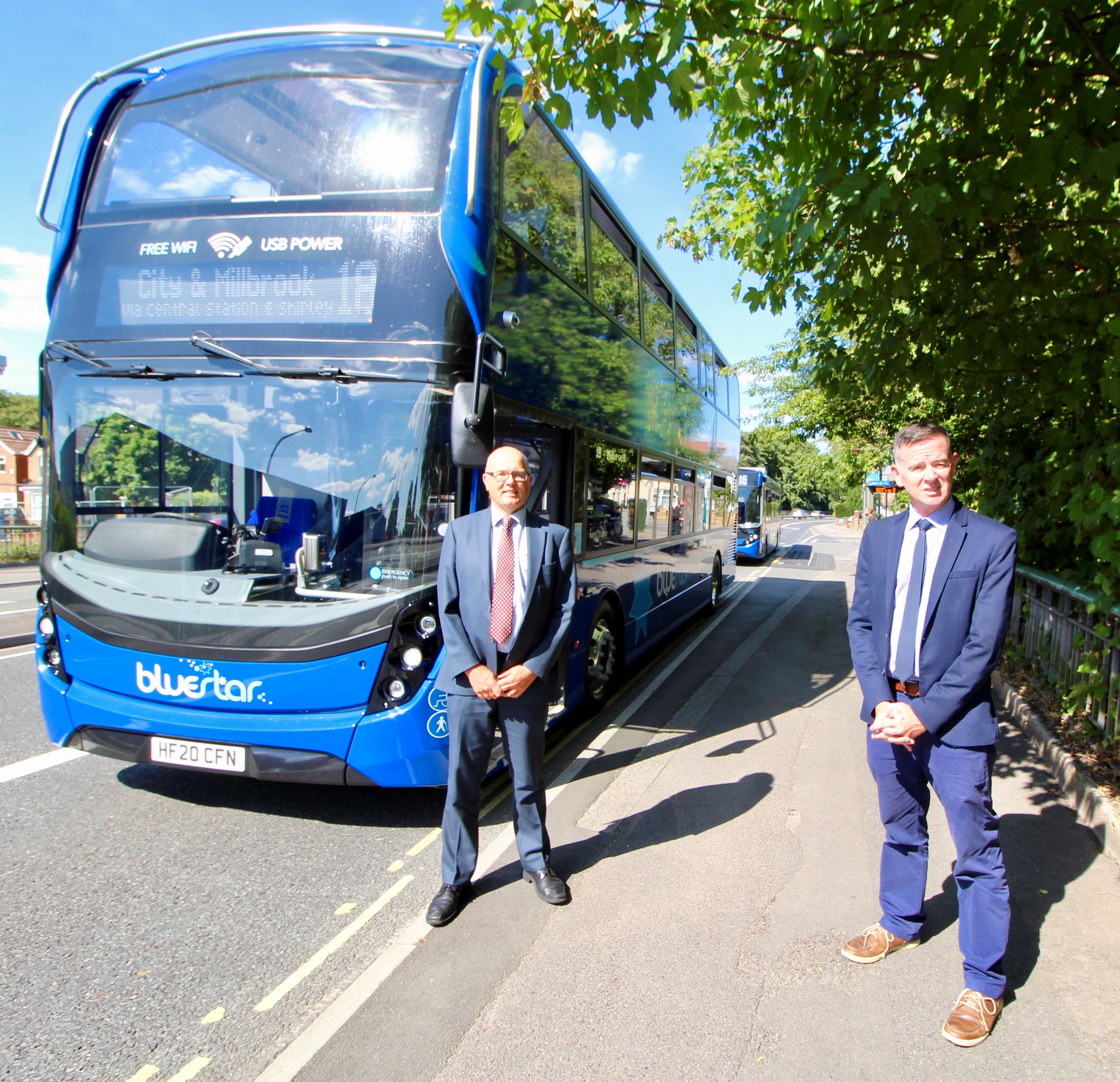 A photo of a new bluestar bus with our managing director, Andrew, with Southampton City Councillor, Steve.