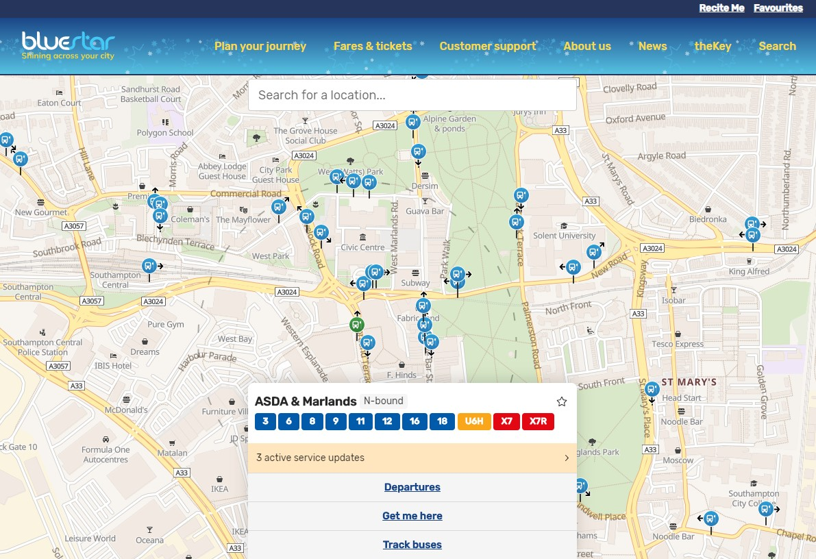 A screenshot of a map showing the option to track your buses