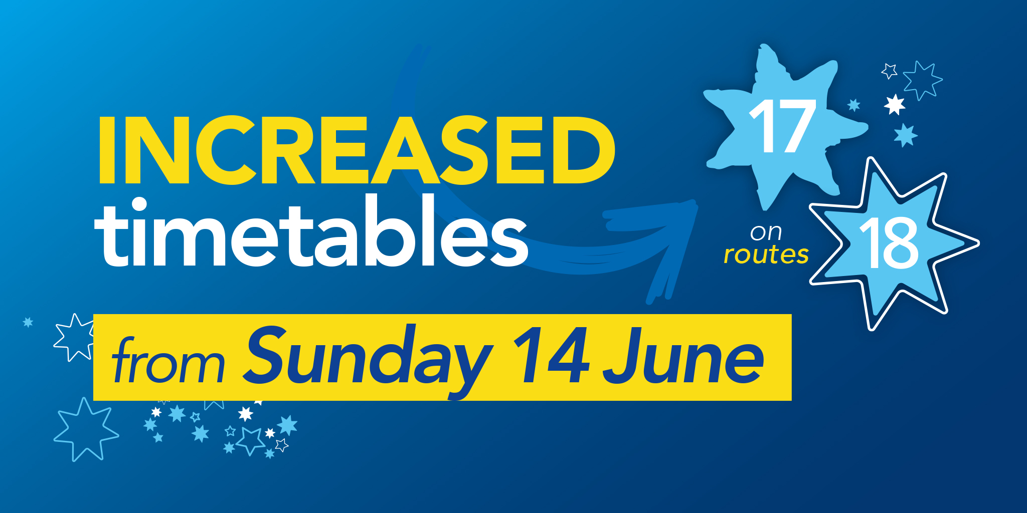 Image reading 'Increased timetables from Sunday 14 June on routes 17 and 18'