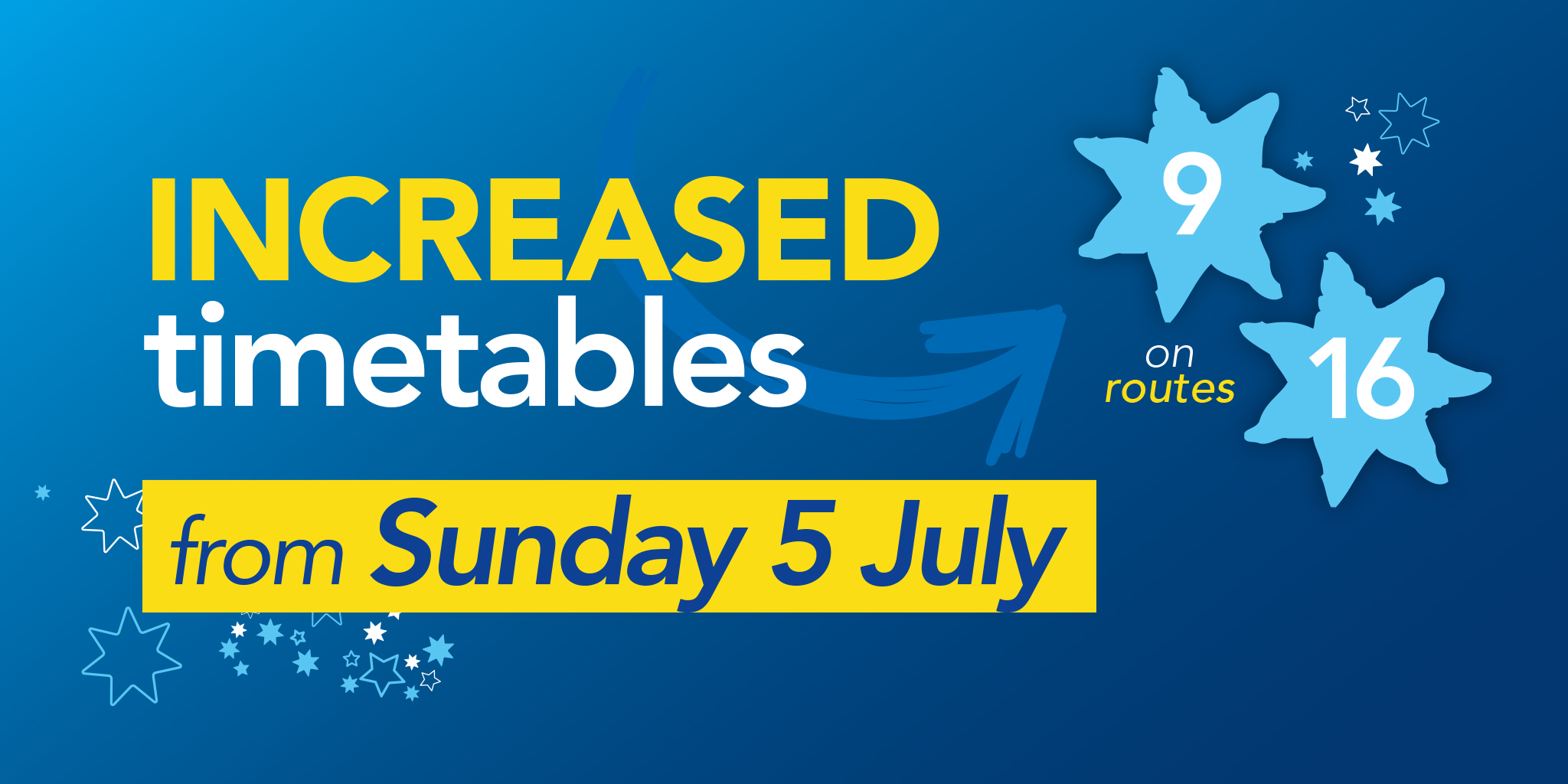 Image reading 'Increased timetables from Sunday 5th July on Bluestar 9 and 16'