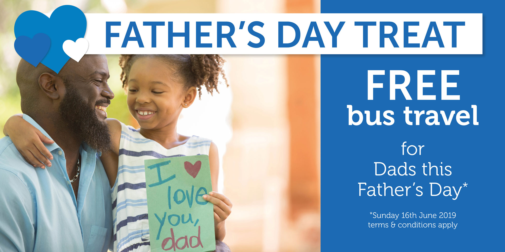 Free travel for dads this Father's Day - Sunday 16th June