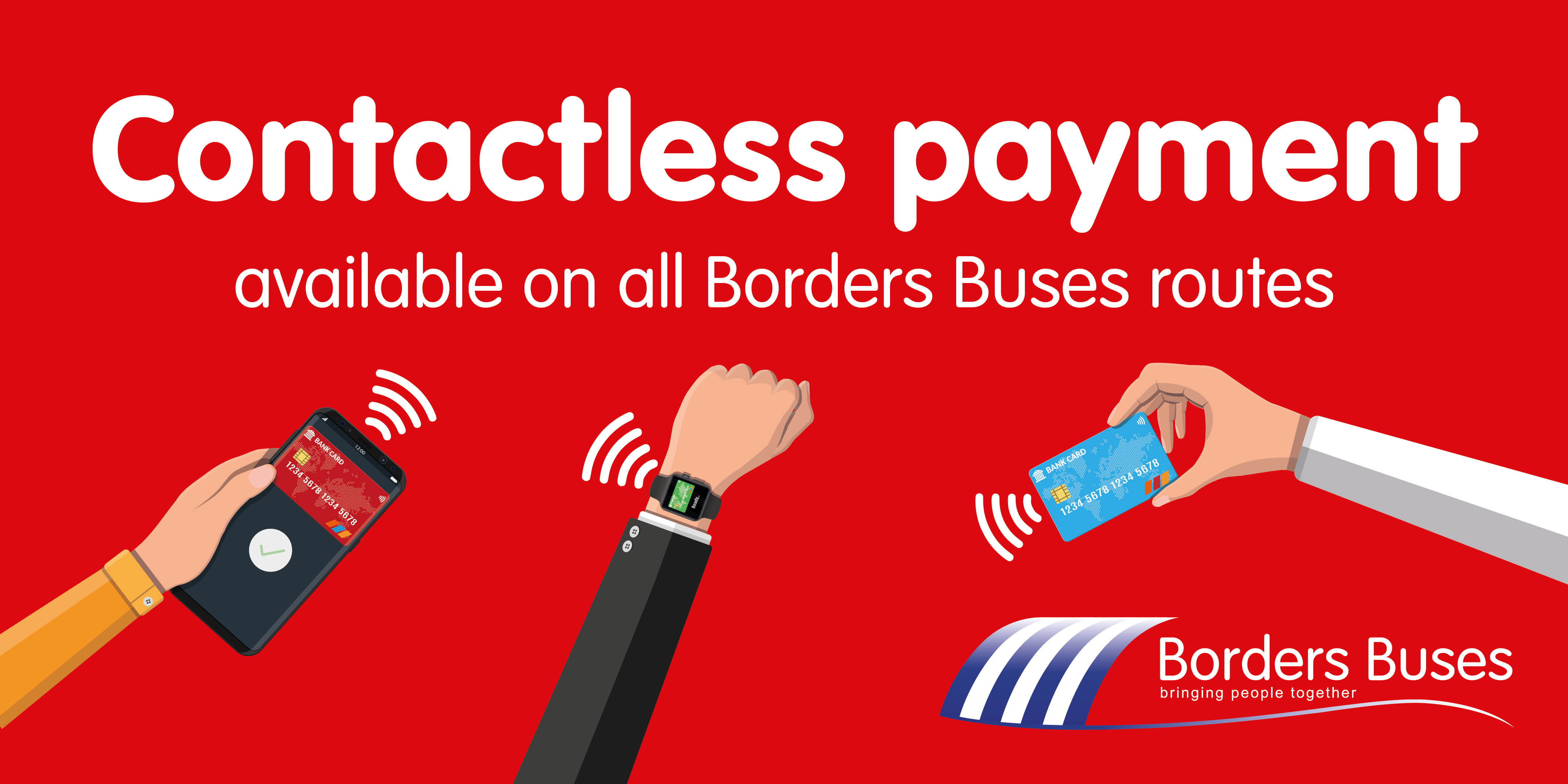 Three illustrated arms paying each with mobile, card and smart watch with contactless