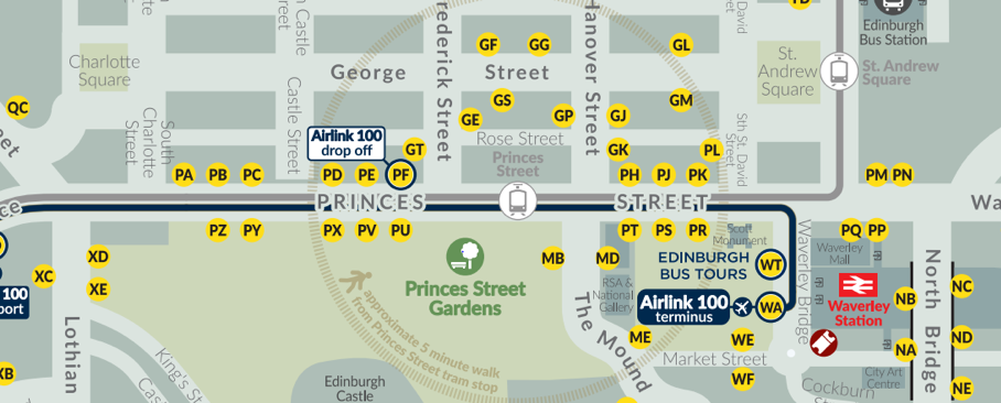 Map of princes st bus stops