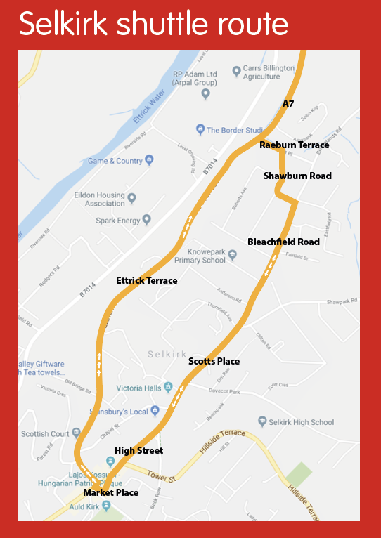 Shuttle will come down A7 from Galashiels to Market Place, Selkirk via Bleachfield Road and Scotts Place. It will go back up towards Galashiels via Ettrick Terrace.